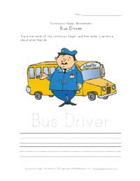 what bus driver does worksheet