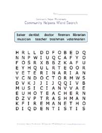 community helpers word search