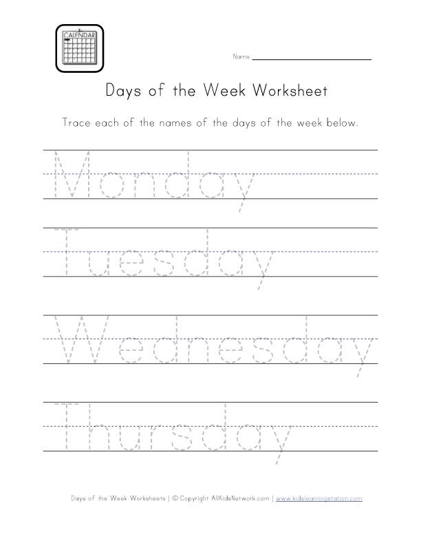 days of the week worksheets. Black Bedroom Furniture Sets. Home Design Ideas