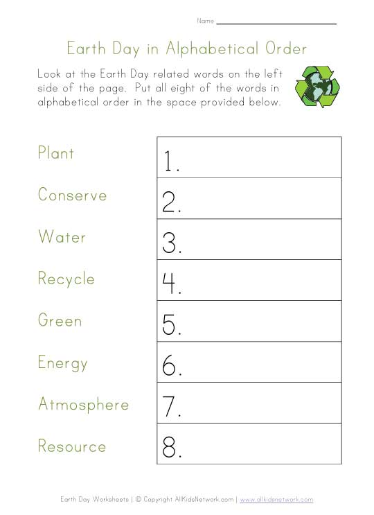 earth day alphabetical order worksheet