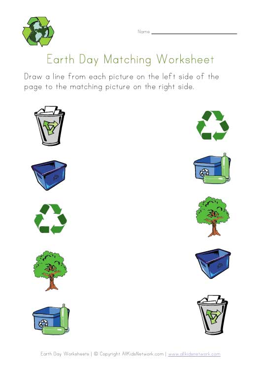 earth day matching worksheet
