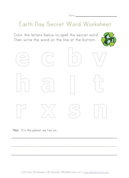 earth day spelling worksheet