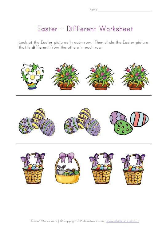 easter worksheet different