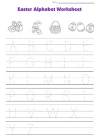 easter alphabet tracing worksheet