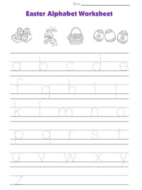 easter tracing lowercase letters worksheet
