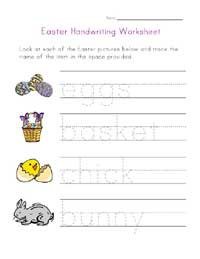 easter handwriting worksheet