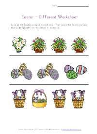 easter different worksheet