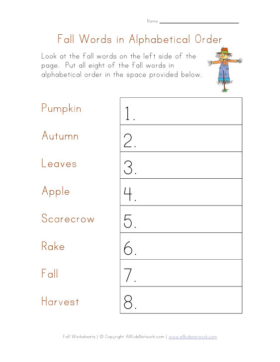 fall alphabetical worksheet