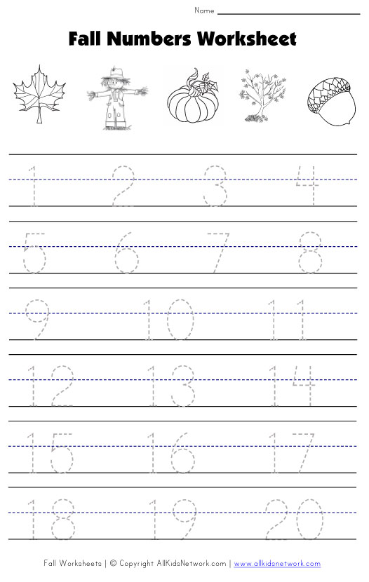 Number Names Worksheets fall math worksheet Free Printable – Math Tracing Worksheets