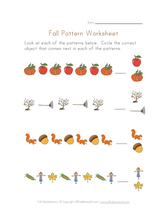 math worksheet : patterns worksheet  fall theme : Fall Worksheets Kindergarten