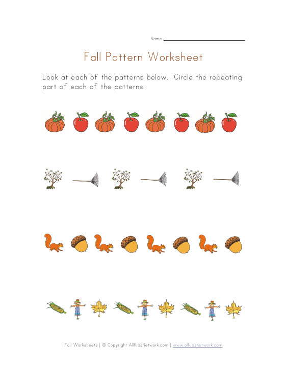 fall patterns worksheet