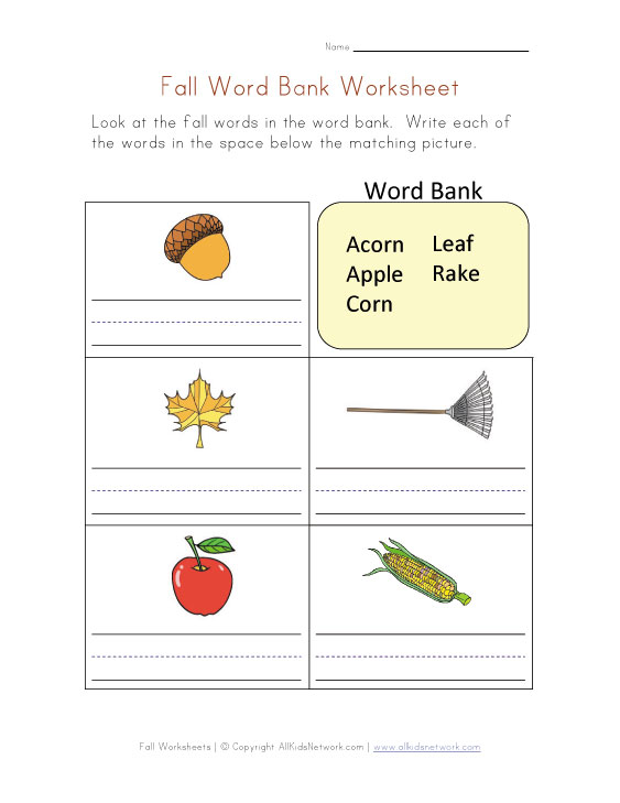 fall word bank worksheet