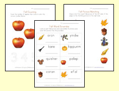 fall worksheets for kids