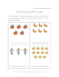 fall counting practice worksheet