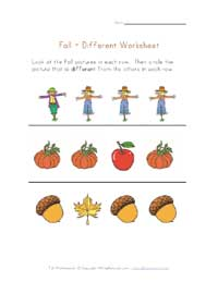 autumn different worksheet