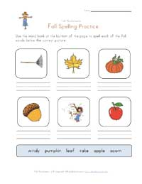 fall spelling practice worksheet