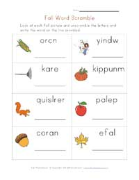 printable fall word scramble