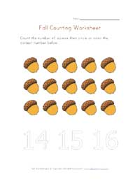 fall counting 15 worksheet