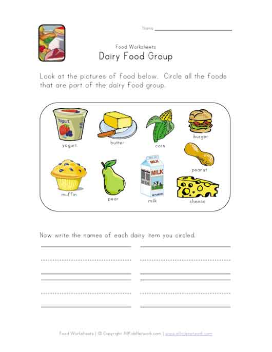 dairy food group worksheet