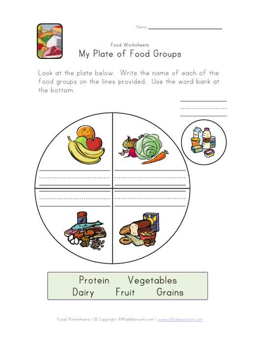 Myplate For Kids Worksheets My plate of food groups