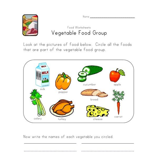Food group worksheets 2nd grade