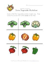 same vegetable worksheet