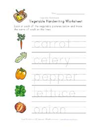vegetable writing worksheet