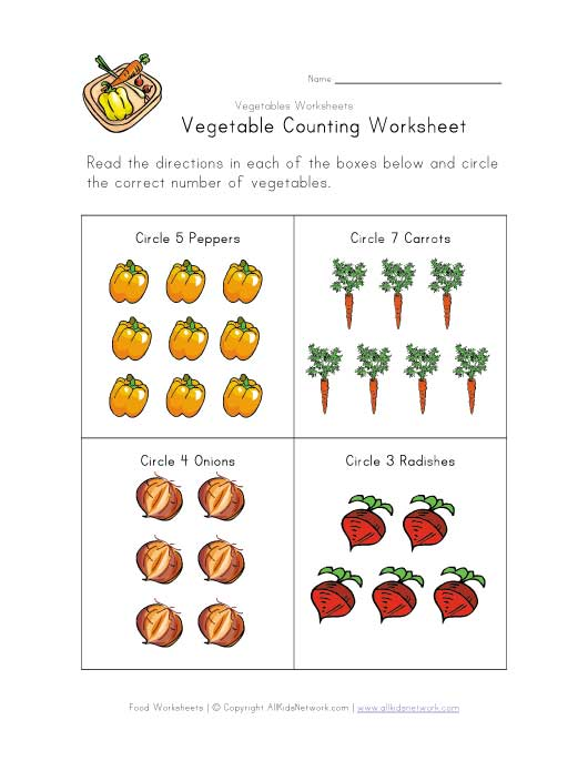 vegetable counting worksheet