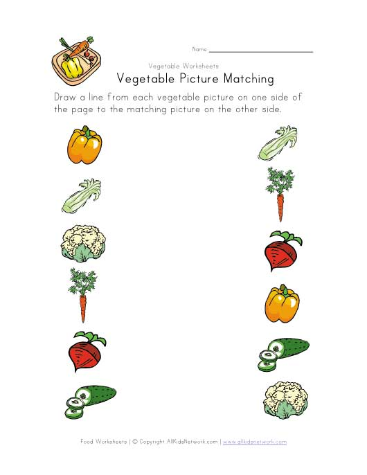 view and print your vegetable matching worksheet