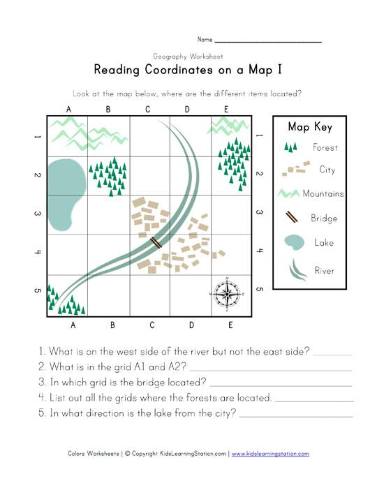 reading coordinates on a map worksheet. Black Bedroom Furniture Sets. Home Design Ideas