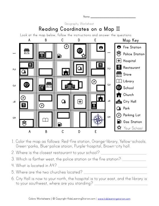 reading coordinates on a map worksheet 2. Black Bedroom Furniture Sets. Home Design Ideas
