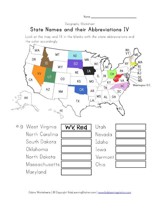 U S  States Worksheet