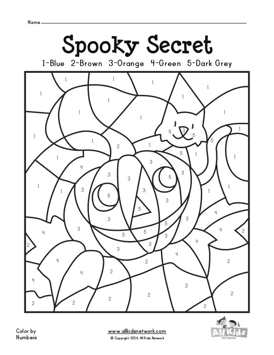Search results for color by numbers addition coloring for Halloween coloring pages color by number