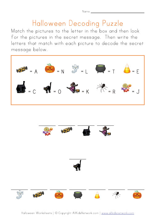 halloween secret word puzzle