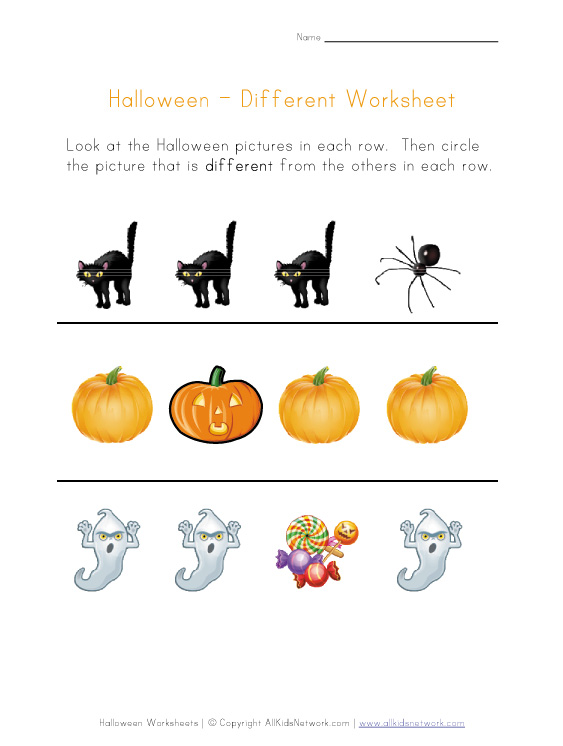 View and Print Your Halloween Different Worksheet