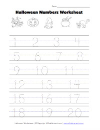 halloween number tracing worksheet