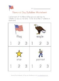 memorial day syllables worksheet