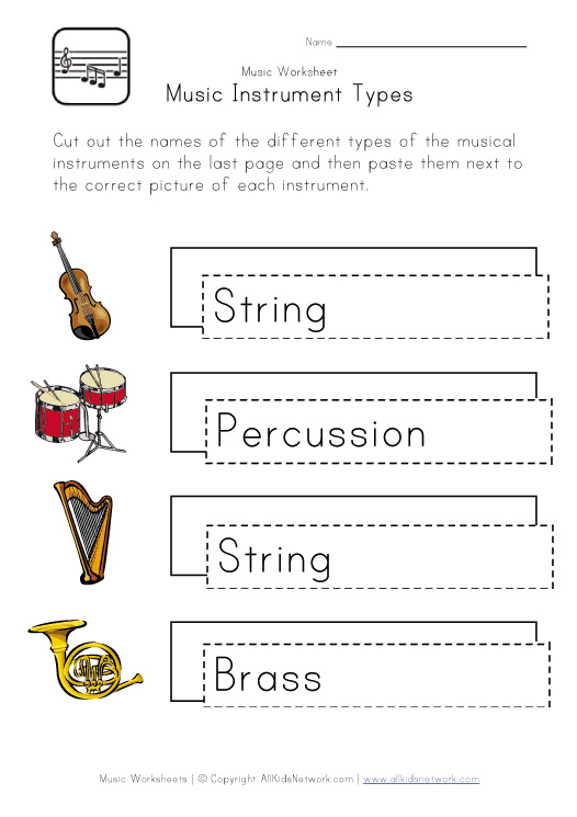 Printable Music Worksheets for Kids
