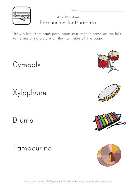percussion instruments worksheet