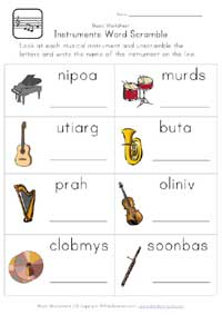 printable music word scramble