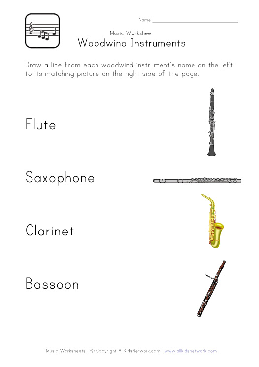 woodwind instruments worksheet