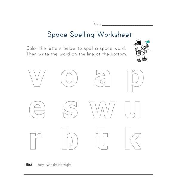 space themed spelling worksheet all kids network. Black Bedroom Furniture Sets. Home Design Ideas