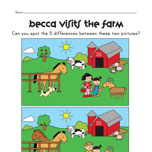 View and Print Your Free Spot the Difference on the Farm Worksheet