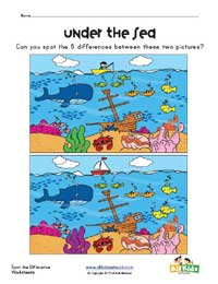 ocean spot the difference worksheet
