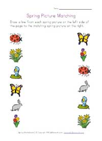 printable spring picture matching