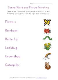 printable spring word matching