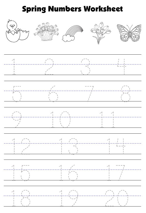 math worksheet : spring worksheets for kids : Printable Number Tracing Worksheets For Kindergarten