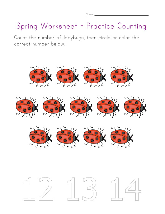 spring worksheet counting thirteen
