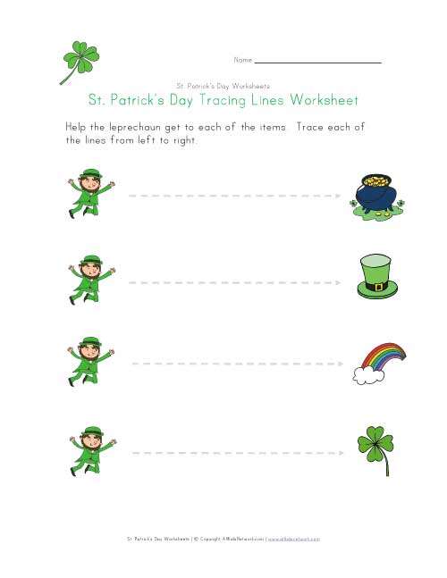 saint patricks day tracing lines worksheet