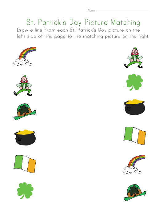 st. patricks day matching worksheet